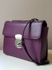COCCINELLE Original Leder Tasche Saffiano-Optik Bearbeitung Minibag Bordo Neu