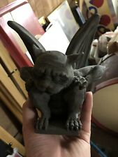 Winged Gargoyle Stone Finish Sculpture 7 In Height Statue Demon Gift and Decor