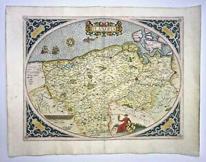 FLANDERS 1579 ABRAHAM ORTELIUS NICE UNUSUAL LARGE ANTIQUE MAP 16TH CENTURY