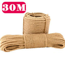 30M Natural Jute Rope Twisted Decking Cord Garden Boating Sash Camping 28mm