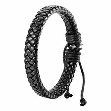 Fashion Black Adjustable Leather Bracelet Rope Bangle Chain For Men Women Travel