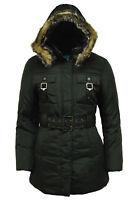 Womens Girls Parka Coat School, Office, Work Jacket with Belt and Hood