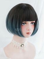 Short Lolita Wig Style Fringe Layered Illusion Blue Lolita Wig