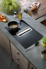 Luna Flow In Counter Cooker Hood in Stainless Steel with Black Induction Hob