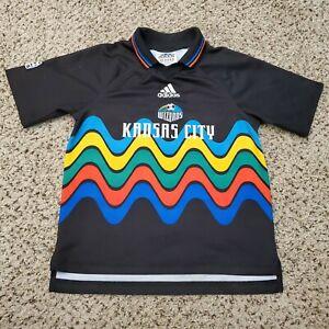 Kansas City Wizards Soccer Jersey Adidas MLS Shirt Youth M Rainbow Rare Vintage