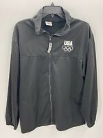 US Olympic Team Apparel Mens Size Large Gray Full Zip Long Sleeve Fleece Jacket