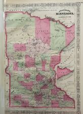 Johnson's Minnesota 1865 Antique Original Map