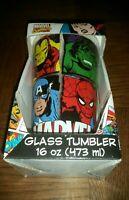 MARVEL SUPER-HEROES 16oz GLASS TUMBLER! BRAND NEW!