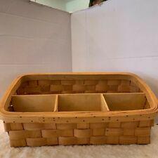 Taskets Renaissance Hand Woven Wooden Basket Divided Organizer 13 x 6 x71/2