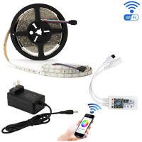SUPERNIGHT® RGB 5M 3528 300 LED Strip Light+Alexa Wifi Controller+Power Supply