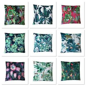 "Exotic Tropical Botanical Jungle Velvet cushion covers double sided handmade 17"""