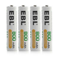 EBL 4Packs 1.2V 800mAh AAA NIMH Rechargeable Batteries For Camera MP3 Lights RC