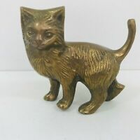 Vintage Small Brass Cat Kitten Ornament Paperweight 9cm Tall Tail up