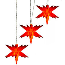 AMARE LED warmweiße Sterne 3er Kette 15cm rot Batterie Timer transparentes Kabel