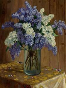 Lilacs by N.Belsky Glass vase Table Tile Mural Kitchen Backsplash Marble Ceramic