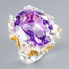 Vintage23ct+ Natural Amethyst 925 Sterling Silver Ring Size 8/R121608