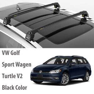 Turtle AIR2 Roof Rack, Cross Bar Black Color for VW Golf 7 Alltrack 2013-2020