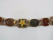 "Tones Link Gold Tone Bracelet 7 1/2"" Signed Lc Flower Themed Resin Overlay Earth"