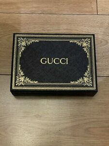 Genuine Original Gucci Black Gold Gift Empty Box with Tissues 22 x 16 x 5.5 cm
