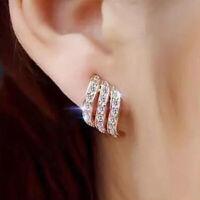 Elegant Women Lady Earrings Crystal Rhinestone Ear Stud Dangle Jewelry Gifts