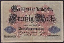 Darlehnskassenschein 50 Mark P 49 b, Reichsschuldverwaltung Berlin 1914