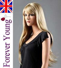 Ladies Long Blonde Straight Full Wig Light Ash Blonde Side Fringe Fashion Wig