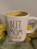 """🌼Rae Dunn Mother's Day """"BEST MOM"""" Mug Sunflowers~Yellow Interior Magenta NEW!"""