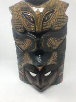 "Wooden Hand Carved Belizean Tribal Mask Decoration, 15"" H x 10"" W x 7"" D"