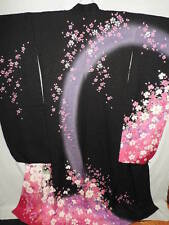 Japanese LARGE & TALL Black to Pink Silk FURISODE w/SAKURA, Butterfly B536