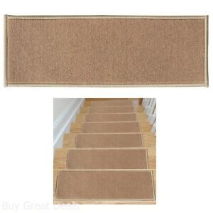 Non-Slip Carpet Stair Treads Set 7 Skid-Resistant Rubber Rug Pad Home Dark Beige