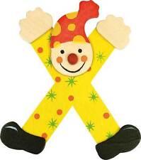 Lettre prenom de porte clown en bois X jaune, décoration de porte **