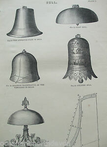 ANTIQUE PRINT C1880'S ENGRAVING BELLS FLAT BELL CHINESE BELL GONG BELL CHURCHES