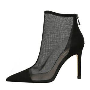 Womens Shoes Mesh High Heels Zip Up Sandals Ankle Boots Stilettos Pumps Black