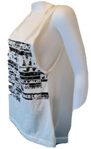 ZUMBA Wear Cream Off white Distressed Graphic PEACE Oversized Active Top Sz S