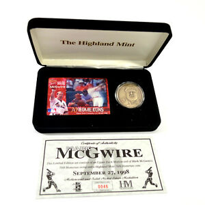Highland Mint Mark McGwire 70th HR Nickel Silver Coin & Motion Card Set #/2,500
