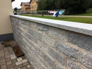 Mauerabdeckung Abdeckplatte Pfeilerabdeckung Granit Naturstein grau -> 4cm stark