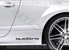 2x Audi Quattro Premium Cast Skirt Decals Stickers RS A3 A4 A5 A6 A8 Q3 S-line