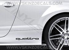 2x AUDI Quattro Premium Cast Gonna Decalcomanie Adesivi RS A3 A4 A5 A6 A8 Q3 S-LINE