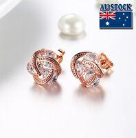 18K Rose Gold Filled 11MM Knot Clear Zircon Stud Earrings AU