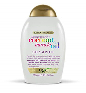 OGX Coconut Miracle Oil Sulfate Free Shampoo for Damaged Hair, Extra Strength,