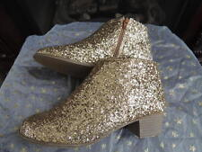 NWT Youth Girls Shoe Size 3 Gold Glitter Boot Booties Shoes OLD NAVY