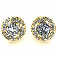 Genuine 0.50ctw Round Cut Diamond Ladies Solitaire Halo Stud Earrings 10K Gold
