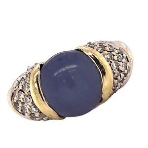 David Yurman Chalcedony Diamond Capri Ring Sterling Silver 18 Karat Yellow Gold