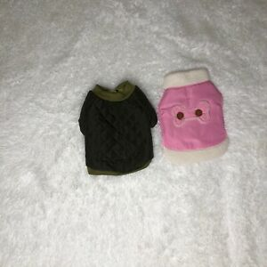 Dog Winter Jackets Lot Of 2 Small/XS Pink Fleece And Green Quilted