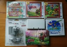 Nintendo 3DS Ice White Console Bundle + Charger + 4 Games + Case PAL Rare