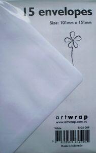 Envelopes 101 x 151 mm - 15 Pack White