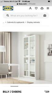 White Glass bookshelf doors