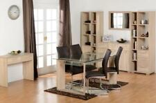 Milan Glass Oak Veneer Dining Set Faux Leather Chairs Chrome Legs Home Furniture
