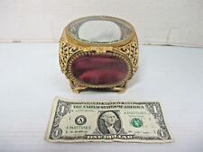 Vtg Ormolu Gold Filigree & Beveled Clear Glass Square Trinket Jewelry Casket Box