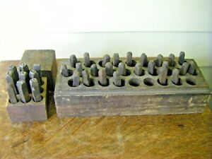 Boxes of Antique Iron Printing Press Stamps